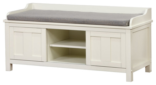 Lakeville White Storage Bench