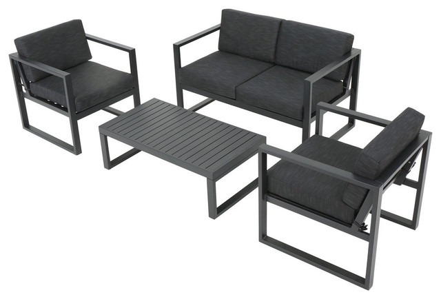 4-Piece Nealie Dark Gray Chat Set