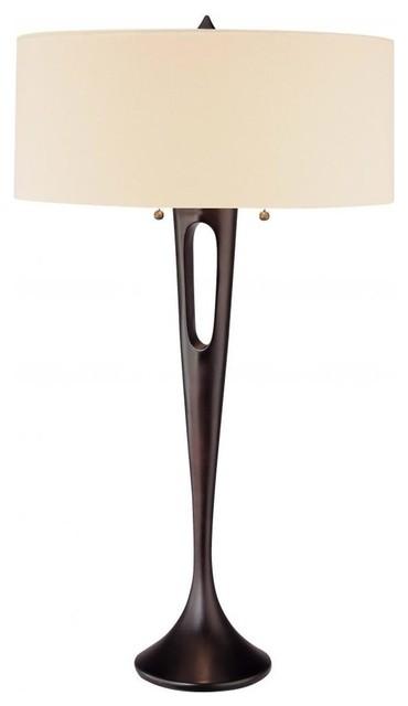 Minka George Kovacs Needle 2-Light Antique Dorian Bronze Table Lamp.