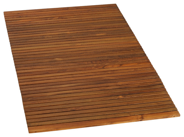 Oskar String Spa Shower Mat, Solid Teak Wood Oiled Finish Transitional Bath  Mats