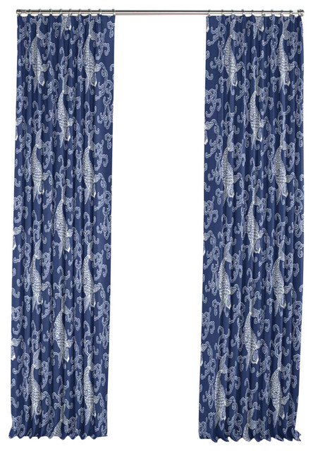 Porcelain blue koi fish pleated curtain single panel for Fish curtains for windows