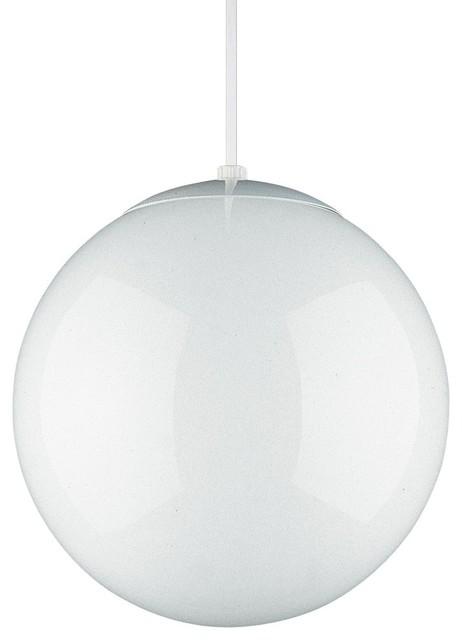 Seagull   Seagull Hanging Globe Ball Shaped Pendant Light, White   Pendant  Lighting
