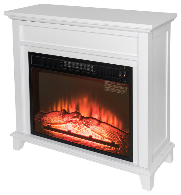 """32"""" Freestanding Electric Mantel Fireplace, White"""