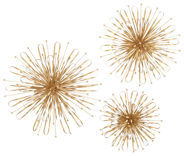 Gold Metal Wall Decor gorgeous metal gold wall decor, set of 3 - contemporary - metal