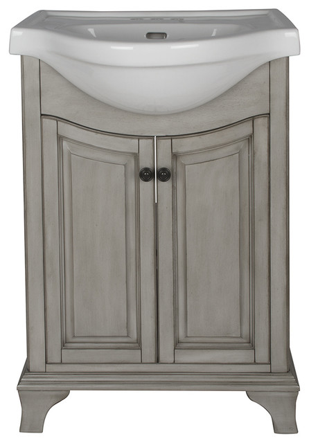 Foremost corsicana bathroom vanity with vitreous china sink antique gray 26 bathroom for Foremost corsicana 24 in bathroom wall cabinet