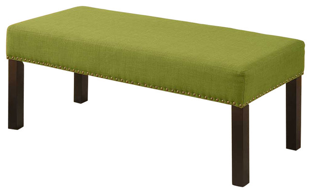 Fabric Upholstered Decorative Bench, Green.