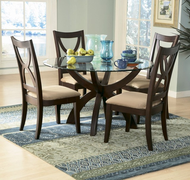 Homelegance Stardust Round Glass Pedestal Dining Table In Espresso Contempo