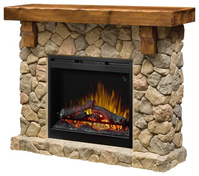 "Dimplex Fieldstone Mantel Fireplace, Stone Finish, 26"" Opti-Myst Firebox."
