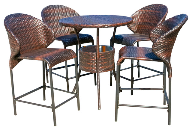GDF Studio 5-Piece Bennett Outdoor Counter Stool Bar With Ice Pail Set