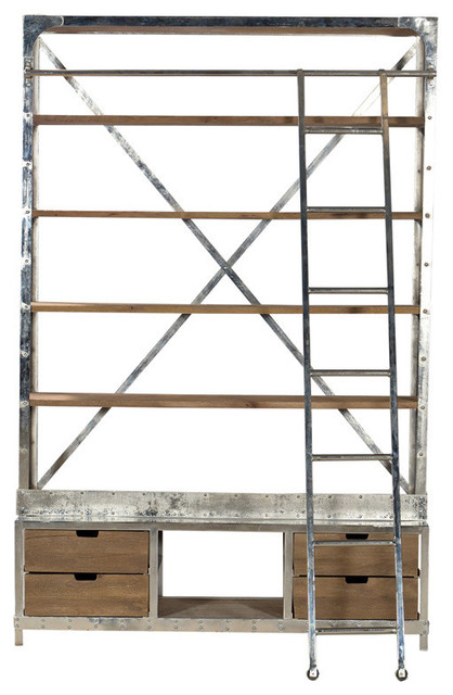 Industrial Bibliotheque Hutch With Ladder industrial-display-and-wall ...