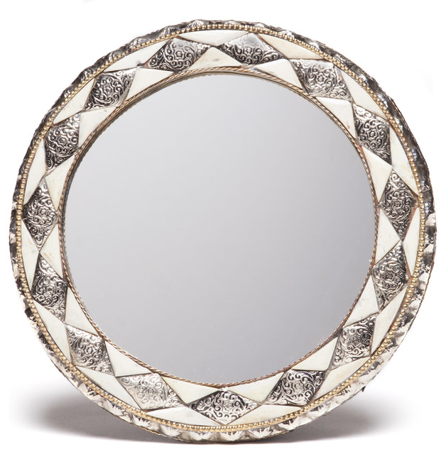 Round Moroccan White Bone Mirror mediterranean wall mirrors. Shop Houzz   Moroccan Buzz Round Moroccan White Bone Mirror   Wall