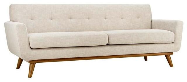 Elaina Upholstered Sofa In Beige.