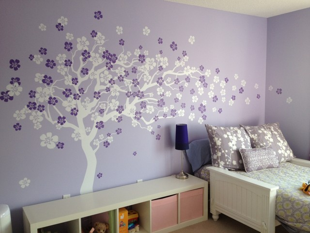 Cherry Blossom Tree, Wall Decal, White/Violet Modern Wall Decals