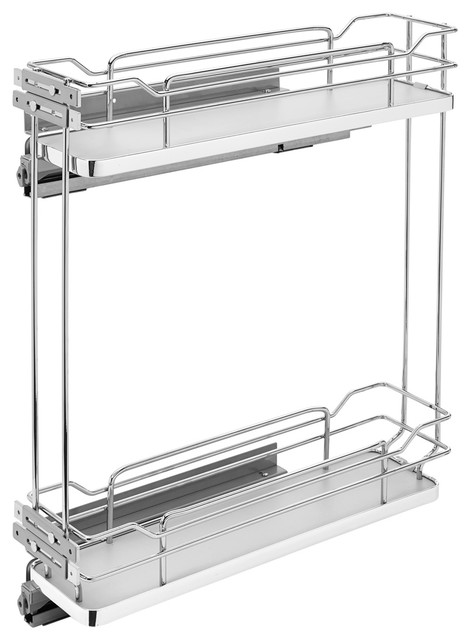 """6"""" Two-Tier Pull-Out Wire Organizer, Gray."""