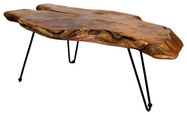 Badang Carving Teak Coffee Table, Clear Lacquer.