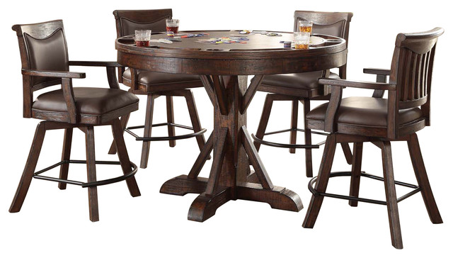Awesome Gettysburg Heavily Distressed Round Pub Game Table Complete