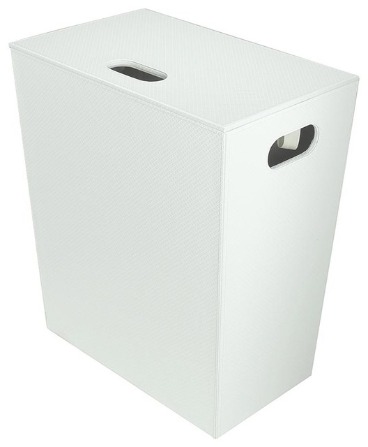Ecopelle Laundry Basket/hamper With Cover, White.