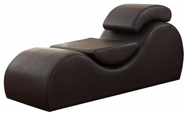 Modern Faux Leather Upholstered Chaise Lounge.