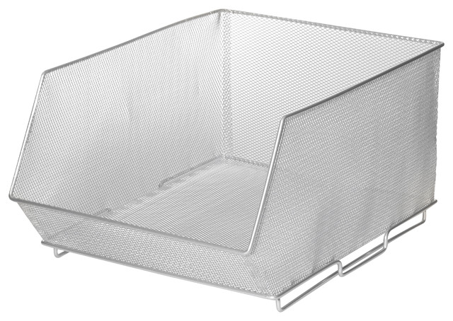 Mesh Stacking Bin Silver Storage Containers Contemporary Storage Bins And  Boxes