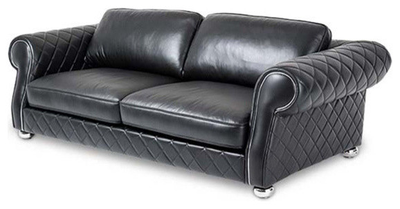 Mia Bella Modern Quilted Leather Standard Sofa Traditional Sofas