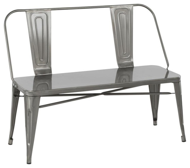 Fantastic Lumisource Oregon Industrial Metal Dining Entryway Bench Clear Brushed Silver Squirreltailoven Fun Painted Chair Ideas Images Squirreltailovenorg