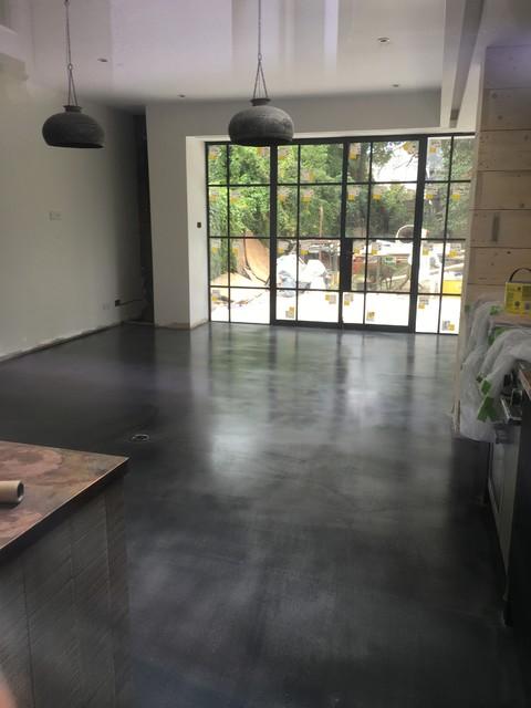 dark polished concrete floor. Delighful Concrete PanDOMO Floor  Selflevelling Polished Concrete Overlay In Dark Grey  London Contemporary To Dark Polished Concrete