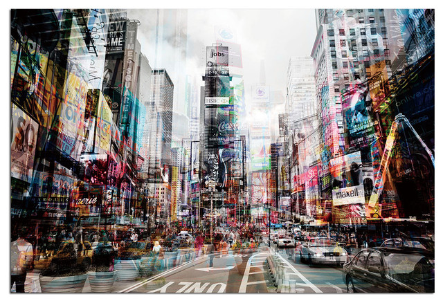 Tempered Glass Wall Art, 3D Times Square New York 1 - Traditional ...