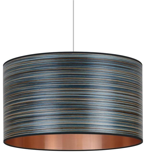 Blue Stripe and Copper Wood Veneer Drum Lampshade, 60 cm
