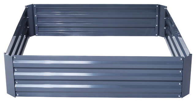 """Outsunny 49""""x49""""x12"""" Galvanized Metal Raised Garden Bed, Gray"""