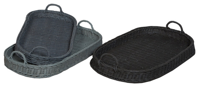 Guild Master 284501S Oval Rattan Trays, Manor Slate And Misty Blue  Tropical Serving