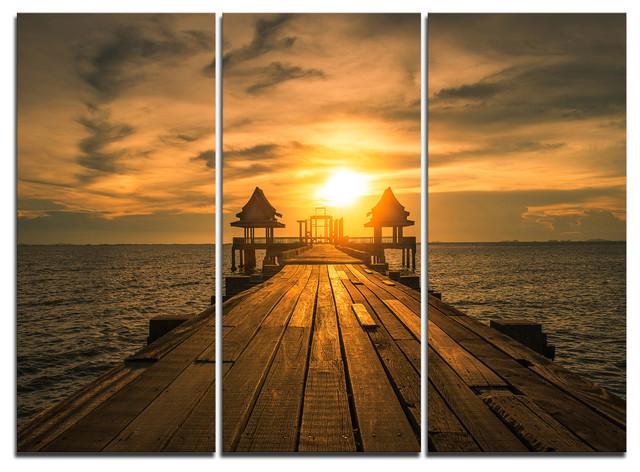 """Huge Wooden Bridge to Illuminated Sky"" Wall Art, 3 Panels, 36""x28"""