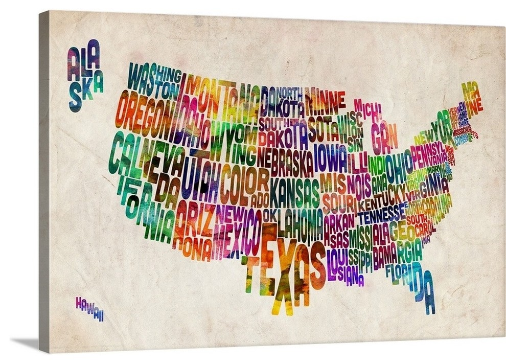 Map of USA showing State names in text Wrapped Canvas Art Print,  36\
