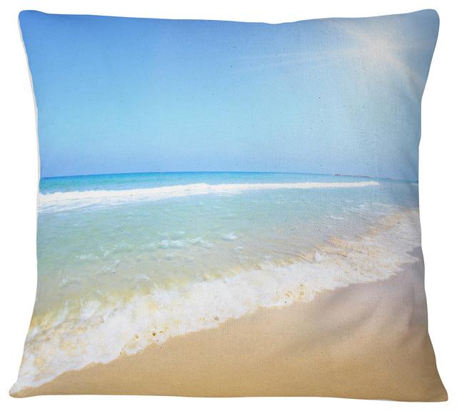 """Sun Over Tropical Beach Seashore Photo Throw Pillow, 18""""x18"""""""