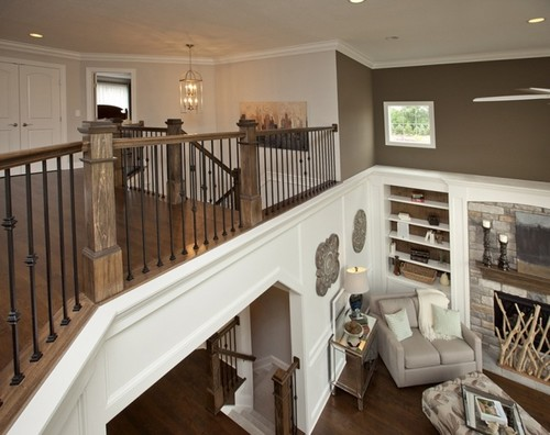 how to decorate staircase landing which overlooks great room