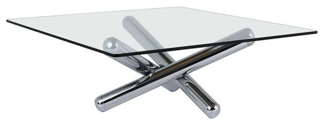 Consigned Mid Century Modern Style Chrome And Glass Coffee Table