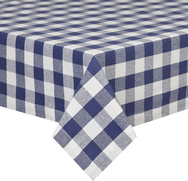 Kingston Blue White Fabric Tablecloth Gingham Square