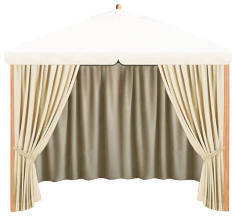 10&x27; Square Alize Pavilion, Top Canopy And Privacy Curtains, Ecru.