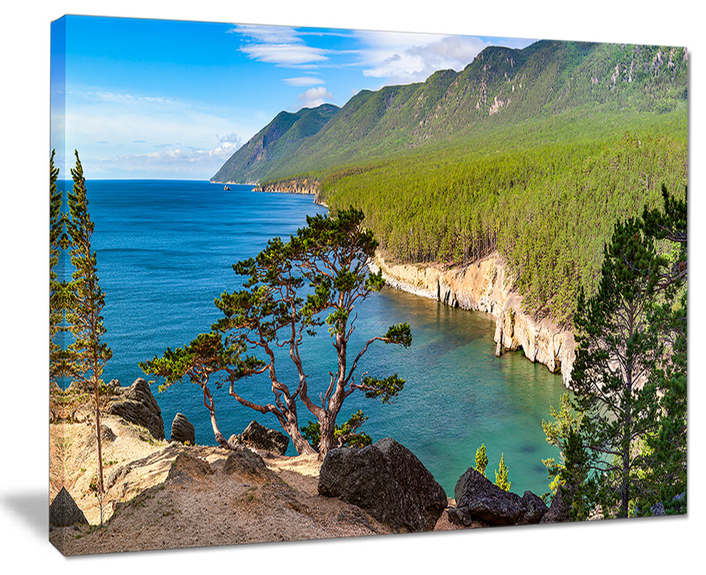 Lake Baikal On Summer Day Landscape Wall Art Canvas Print Contemporary Prints And Posters By Design Art Usa Houzz