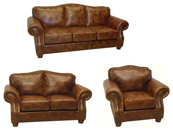 Brandon Distressed Whiskey Italian Leather Sofa Loveseat And Chair