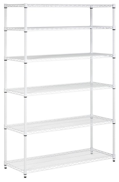 Elegant 6 Tier Adjustable Storage Shelving Unit, White Contemporary Utility Shelves