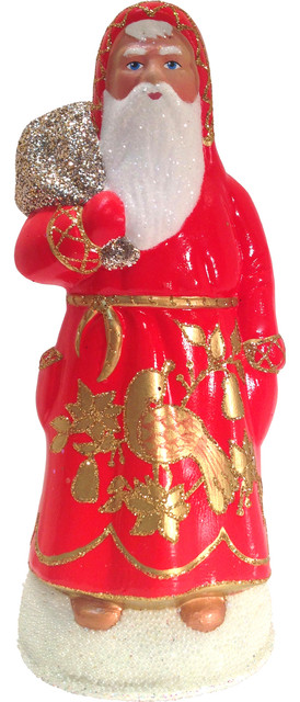 Schaller Paper Mache Candy Container, Santa Red Coat With Partridge.