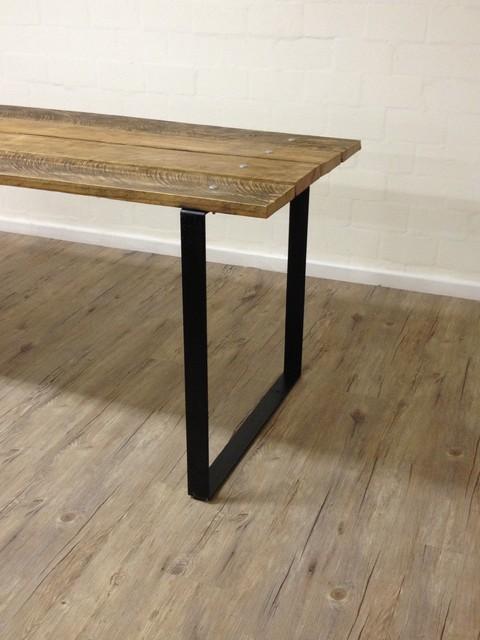 Reclaimed Wood Table w/ Steel Square Legs - Modern ...