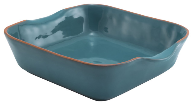 "Aqua Blue Glazed Terracotta Ceramic Square Baker, 10.25""x11.25""x3""."