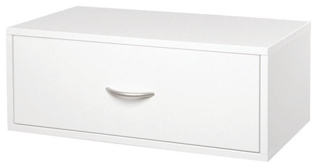 Organized Living Freedomrail Double Hang O-Box 1 Drawer, White.