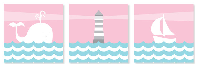 Nautical Nursery Canvas Art Whale Sailboat And Lighthouse Pink