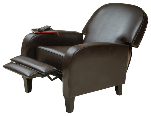 oliver brown bonded leather recliner chair - Brown Leather Recliner