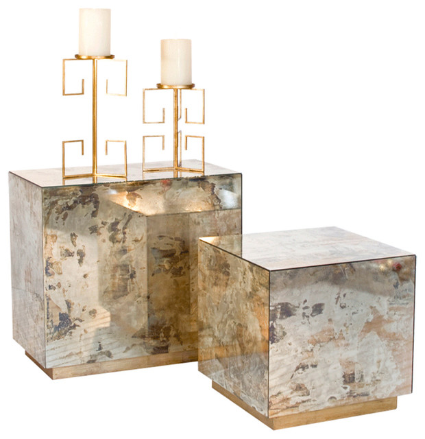 Worlds Away Small Reverse Mirror Side Table With Gold Leaf Base  Contemporary Side Tables