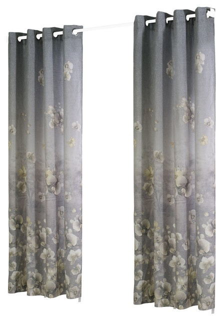 "Chamberlain Gradient Orchid Print Curtain Panel, Gray, 54""x63""."
