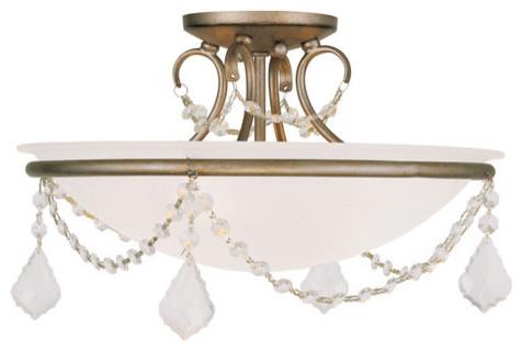 Livex Lighting 6524 Chesterfield / Pennington 3 Light Semi-Flush Ceiling Fixture.