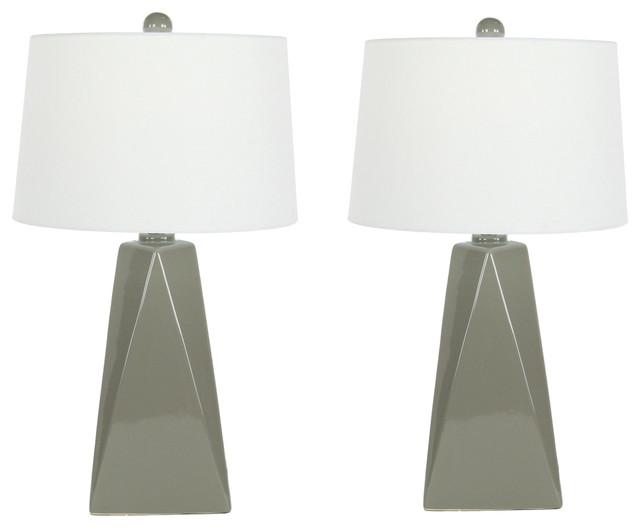 Urban Designs Bossa Nova Collection 29-Inch Glazed Ceramic Table Lamp Set, Gray by Urban Designs, Casa Cortes